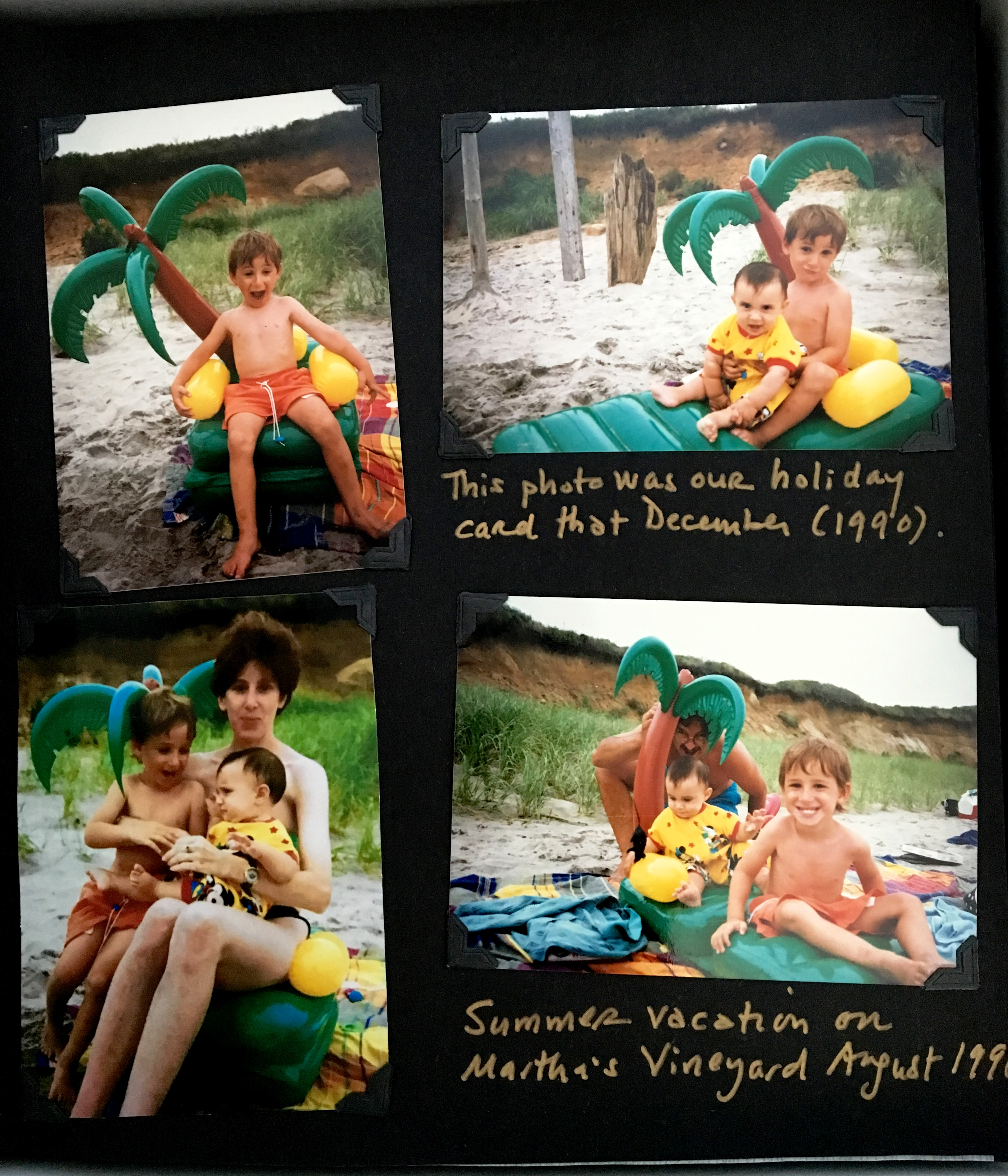 Photo album page with inflatable palm tree.JPG